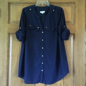 Charter Club Navy Roll-Sleeve Button-up 0X